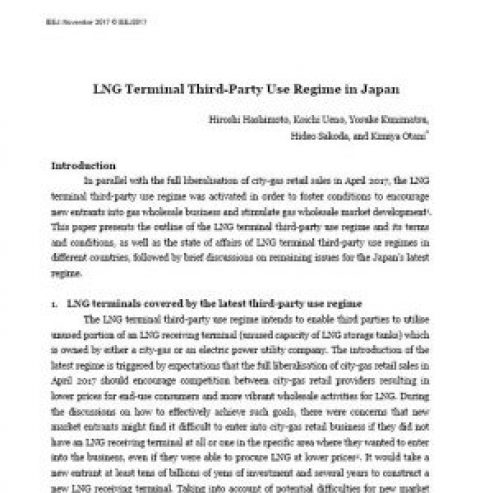 LNG Terminal Third-Party Use Regime in Japan